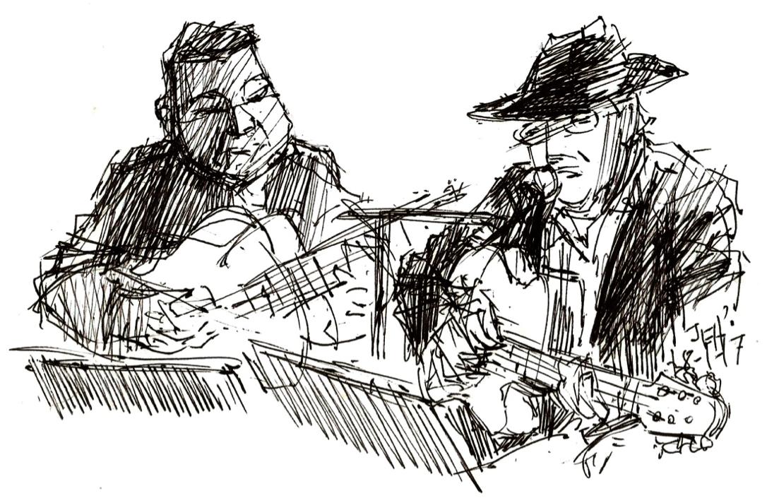 Guitar Lounge med Flemming Honig og Jesper Gilbert tegning